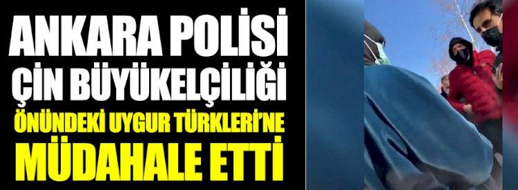Ankara polisi, Çin Büyükelçiliği önündeki Uygur Türklerine müdahale etti: Kaldırın atın bunları