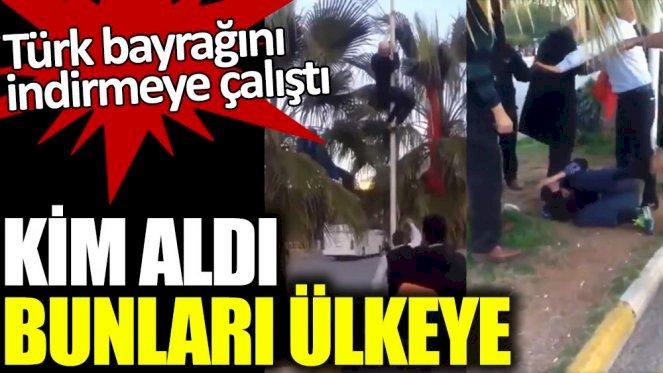 Alanya'da Türk bayrağını indirmeye çalıştı